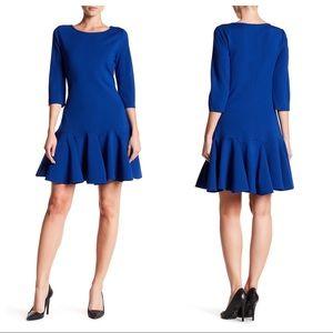 HALSTON HERITAGE 3/4 Royal Blue Ponte Dress